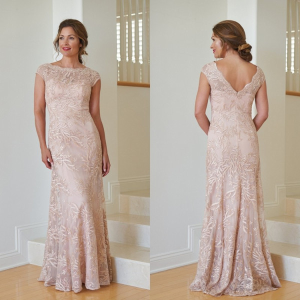 Light Pink Mother Of The Bride Dresses Jewel Neck Cap Sleeves Floor Length Plus Size Mother Gowns Custom Made Wedding Guest Dress