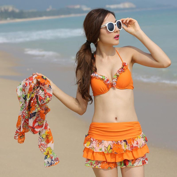 Hot Japan New Pattern Snow Do Spinning Bikini Three-piece Cover The Belly Smock Small Chest Gather Together Will Code Swimming Suit Woman