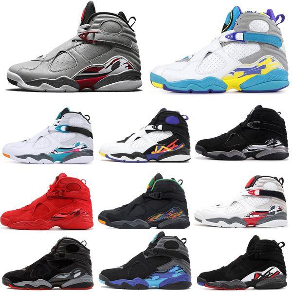 Aqua 8 8s Hombres Zapatos de baloncesto Reflectante Bugs Bunny Chrome Día de San Valentín 3PEAT PLAYOFF RAID Mens Trainer Sports Sneaker 7-13