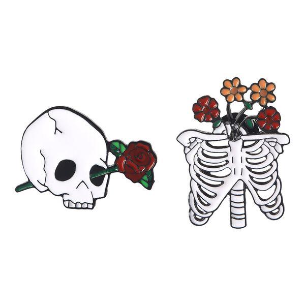 Skull and Rose Brooch Skeleton Flower Badge Lapel Pin Hard Enamel Pin Button Collection Jewelry Gift Handbag Jacket Denim Coat Hat Accessory