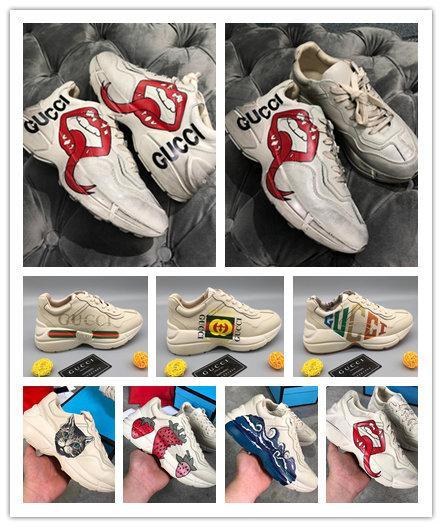 Zapatillas Rhyton Vintage para hombre con boca de ola de fresa Tiger Web Boca Impresión de labios NY Yankeesprint Vintage Trainer mujer Diseñador Zapatos