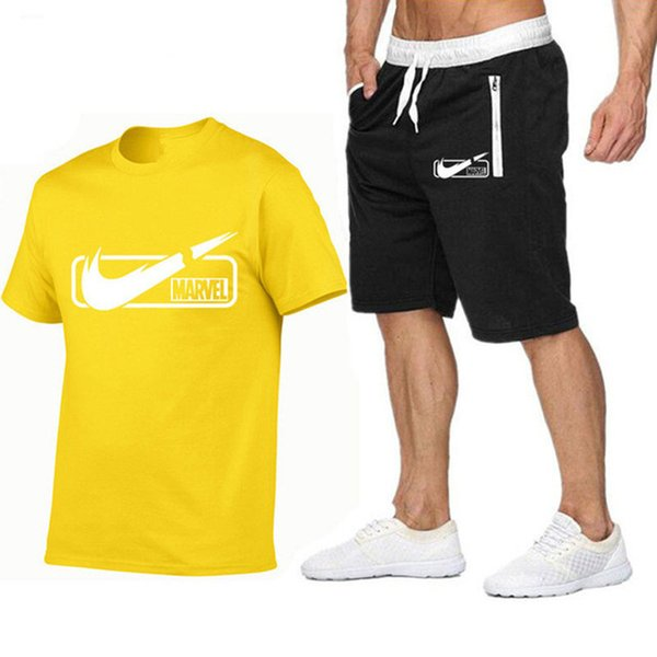 Marca Para Hombre Camiseta + Pantalones Cortos Conjunto de Verano de Manga Corta Chándal Gimnasios Casual Camiseta Masculina 2 Unidades Marca Ropa Tamaño S-2XL
