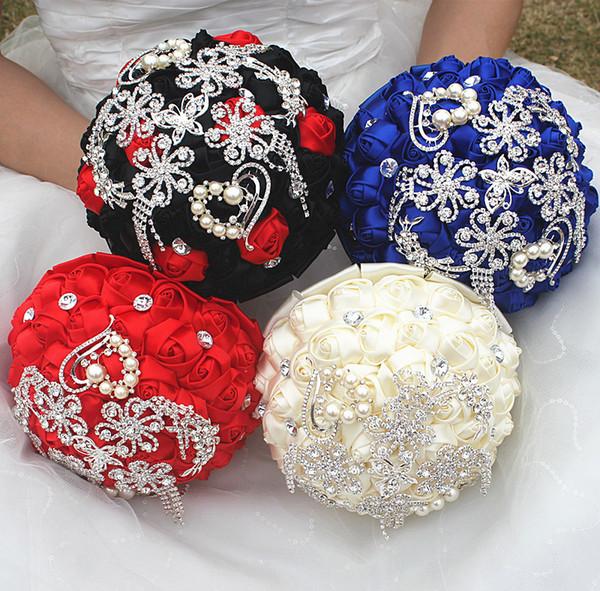 Nero Royal Bianco Rosso Seta Nastro Matrimonio Bouquet Da Sposa Dolce 15 Quinceanera Mazzi Perle Strass Farfalla Fiore Nuziale W2285