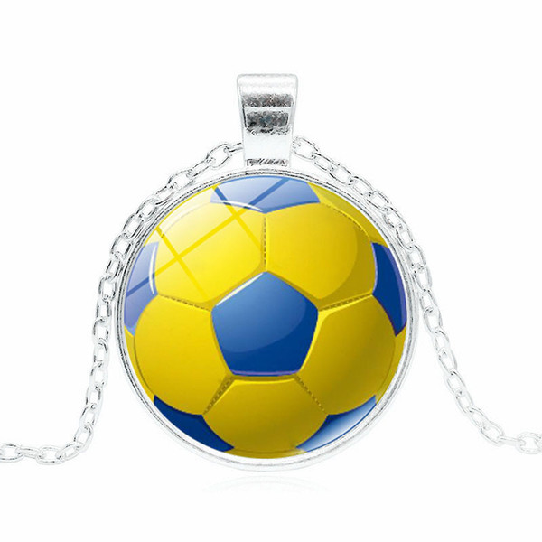 2019 new creative pendant necklace 3 color jewelry necklace football pattern time gemstone necklace cross-border e-commerce supply