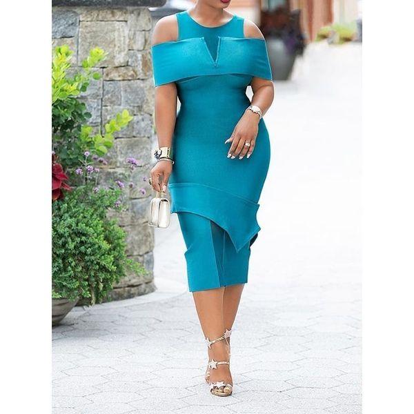 Women Summer Bodycon Dress Elegant Evening Sexy Off Shoulder Party Ladies 2019 Stylish Patchwork Split Blue Office Midi Dresses J190601