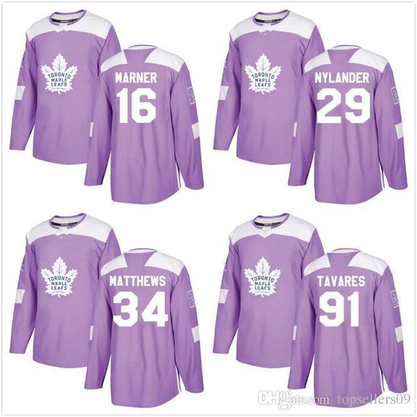 brand new 89a97 9e4b5 2019 Custom Salute To Service Fights Cancer Red 91 Tavares Blank 29 William  Nylander 16 Mitch Marner 34# Toronto Maple Leafs Hockey Jerse From ...