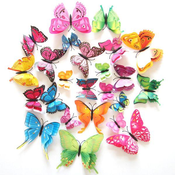 12pcs Multicolor Double Layer Wings 3D Butterfly Wall Sticker Magnet PVC Butterflies Party Kids Bedroom Fridge Decor Magnetic