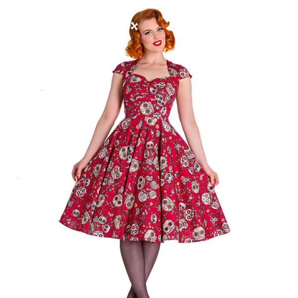Woman Clothing Summer Dresses Summer Skater Dress Elegant Vintage Red Sugar Skulls Flower Print 50S Rockabilly Party Size Clothes