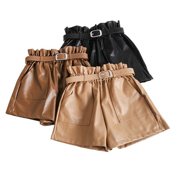 Pantaloncini in pelle PU a vita alta Donna Freddi cinturini punk Casual Pantaloncini in pelle autunno inverno casual allentati elastici in vita Nuovo
