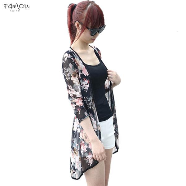 Fashion Casual Women Boho Peony Print Chiffon Loose Shawl Gauze Kimono Cardigan Lady Shirt Cover Up Beach Blouses Augu3