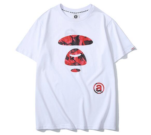 Le camouflage classique des hommes de la marque de la mode japonaise imprimé lettres motif tête de singe T-shirt post gratuit en gros