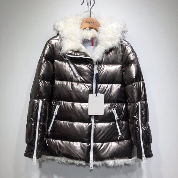Women Winter Jacket Ladies Real Sheep Fur Duck Down Inside Warm Coat Femme Long Coat Quality Very Good 788