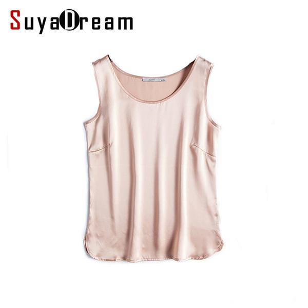 100% Real Women Tank Tops Basic Solid Tanks 2018 Summer Sleeveless Top Satin Silk Vest Black White Nude Bottoming Shirt C19040301