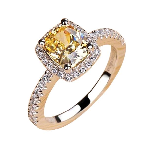 Alta qualidade diamante Europa e América 18 K ouro branco banhado a ouro anel modelos femininos senhoras cor amarela praça anel de casamento de diamantes