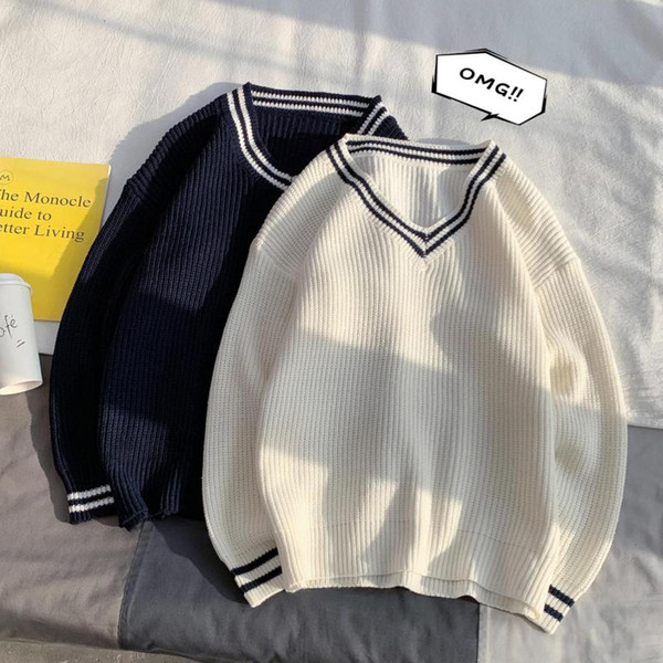 hong kong style men's solid color british college style sweater couple v-neck sweater winter men longsleeves men