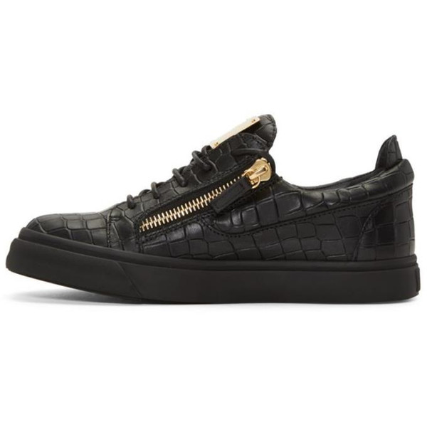 European and American men's designer shoes zip flat crocodile leather line men's and women's casual shoes low top sneakers fashion brand