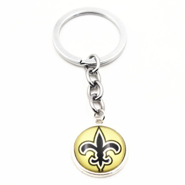 New 10pcs I Love Football Sports Keychains Team Glass Pendant For Women Men Silver Key Chains Key Ring Jewelry Charms