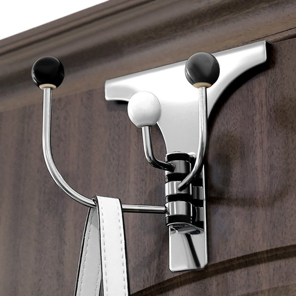 Multi-purpose Stainless Steel Door Back Hook Over-The-Door Hook Rack Metal 3 Hooks Hanger Storage Holder Hanging Coat Hat Mar