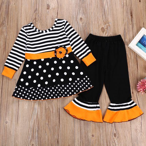 retail girls halloween costume outfits 2pcs suit set(stripe dot long sleeve skirt+ flare pant)kids designer tracksuits girls clothing sets