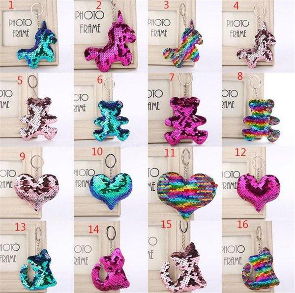 Flamingo Stern Einhorn Herz Schlüsselbund Glitter Meerjungfrau Pailletten Schlüsselanhänger Geschenke für Baby Charms Autotasche Schlüsselanhänger Party Favor B11