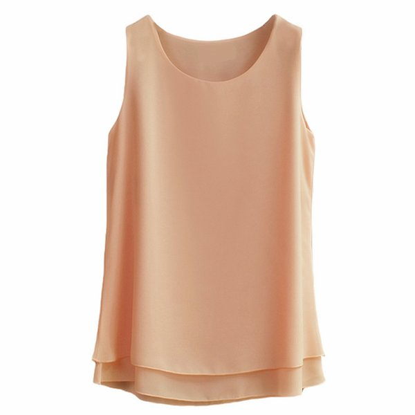 Oversized 6xl Women's Shirt 2018 New Arrival Sleeveless Candy Colors Chiffon Blouse For Women Long Tops Summer Fashion Clothes MX190712