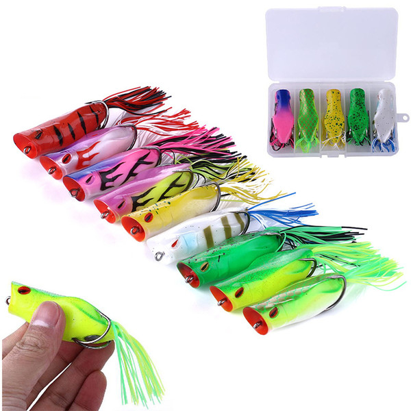 Hot Rubber Ray frog Popper bait 14g 7cm Topwater Fishing Lifelike Frog Hollow Body Soft Baits Blackfish Artificial Lure