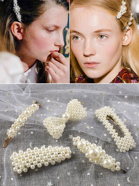 2019 Korean Ins Pearl Hair Clip Barrettes Temperament Girl Fashion Elegant Hairpins Hair Accessories Trendy Style Ornament Jewelry Hot New