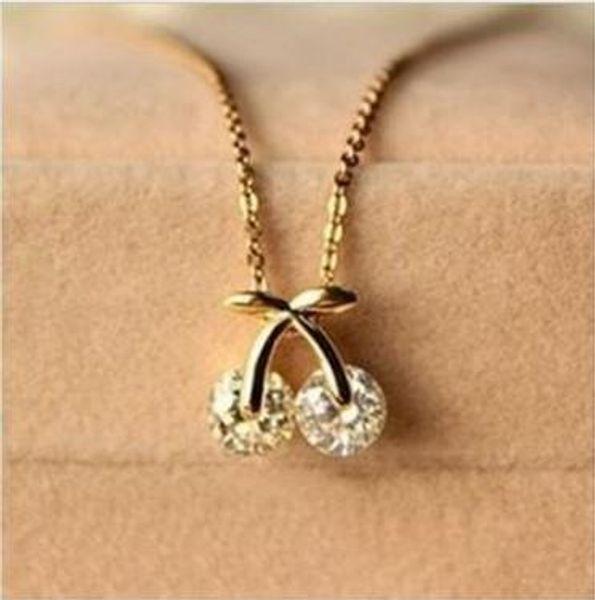 2018 new  fashion fine jewelry gold color super dazzling elegant cute zircon cherry necklaces & pendants for women n-100