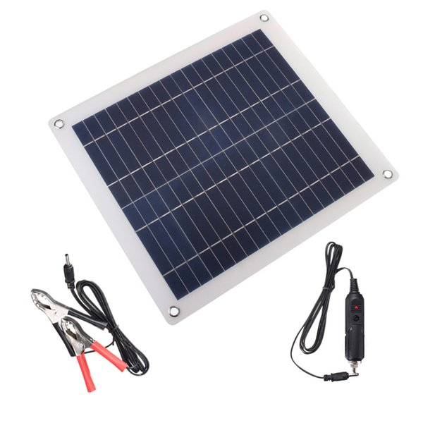 25W Solar Panel Trickle Charger with Cigarette Lighter Plug, Battery Charging Clip Line for Motorcycle RV Boat Marine Snowmobile