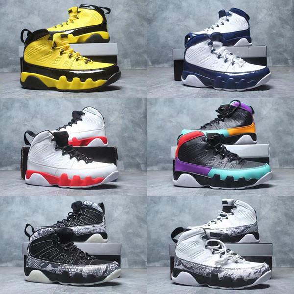 2019 Jumpman 9 IX Lakers Yellow Hornets Noir et blanc en peau de serpent Ce que le sport Basketball Chaussures Enfants Pas Cher Top Hommes Formateur 9s Sneakers
