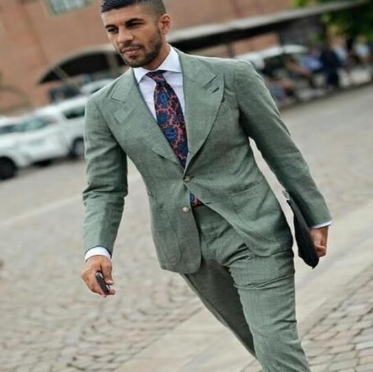 TPSAADE Latest Coat Pant Design Green Linen Custom Casual Street Style Slim Fit Weeding Suit For Men Tuxedo 2 Pieces Vestido