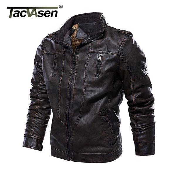 TACVASEN Leather Jacket Men Winter Fleece Jackets Warm Vintage Fashion Motorcycle Biker Jacket and Coat PU Leather Bomber