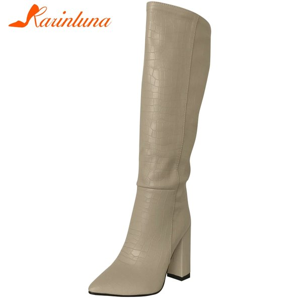 KARIN Big Size 34-43 New Party Sexy Ladies Office Boots Women Fashion Pointed Toe Slip On Boots High Heels Shoes Woman