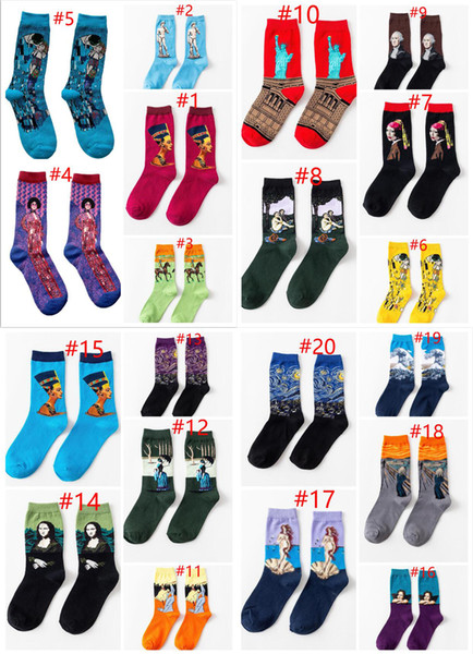 best selling Women harajuku Funny Socks Personality Art Van Gogh Mural World Famous Oil Painting Series Men Socks Cotton Socks