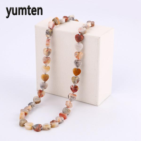 Yumten Colorful Jade cuore di amore del potere curativo collana Pietre curative di cristallo delle donne dei monili della catena Colares corpo Bijuteria vichingo