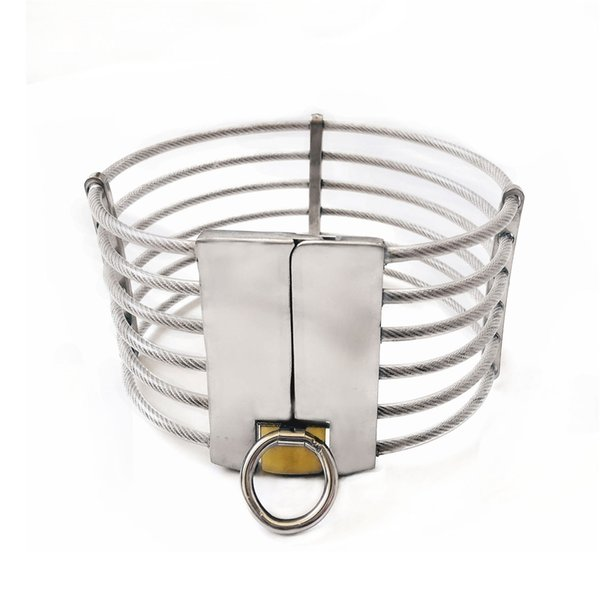 Luxury Stainless Steel Wire Necklet Neck Ring Metal Restraint Posture Collar Bondage Chastity Lock Adult BDSM Sex Games Toy For Male Female