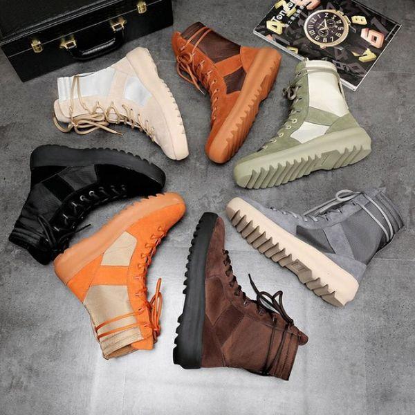 Новое хорошее качество KANYE бренд высокие сапоги лучший из Бога военные кроссовки Высота армейские сапоги мужчины и женщины мода обувь Мартин сапоги