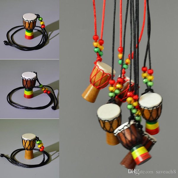 Wooden Djembe Musical Instrument Necklace African Drum For Female Girls Women Fashion Sweater chain Children Gift