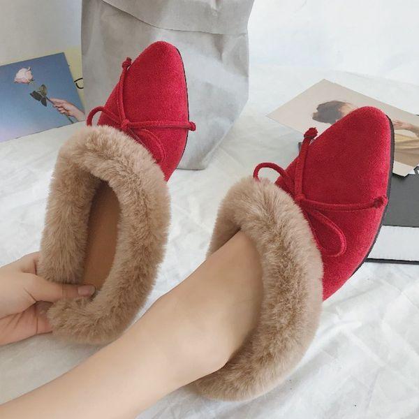 Elegant Winter Plush Fur Slippers Bow-Knot Flip Flops PomPom Autumn Female Slides Mules Low Heels Home Outside Mules