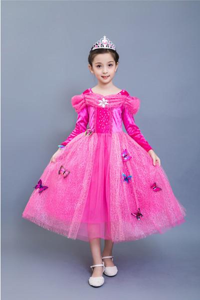 Carnival Costume Sleeping Beauty Princess Aurora Dress up Party Costume Long Sleeve 4 Layers Dress Halloween Cosplay