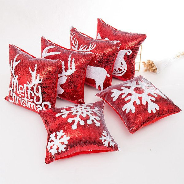 Lantejoula Natal fronha 12 Estilo Reindeer Snowflake fronha 40 * Almofada 40CM suave Início Sofa Cover Car TTA1893-2