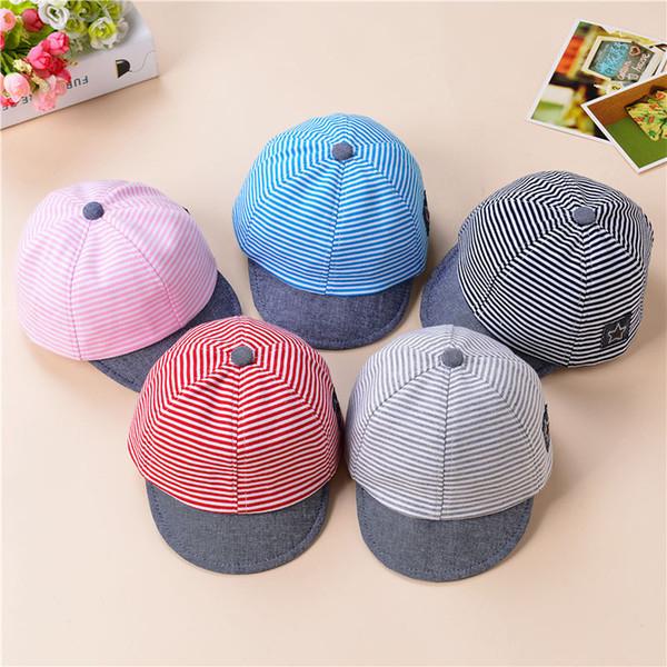 Bebek Şapka Yaz Pamuk Rahat Çizgili Yıldız Saçak Beyzbol Şapkası Erkek çocuk Bere Kız Güneş plaj açık Şapka Hediye AAA2041