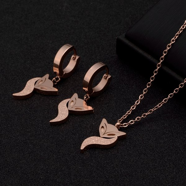 Mixed order valentines day gifts women's stainless steel necklace rose gold necklaces with pendants eardrops earring drop Fox ZX190411002A