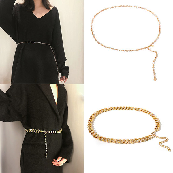 Women Lady Fashion Gold Metal Body Chain Belt Waist Chain with Long Metal Tassels Belt Decoration for Party Dresses