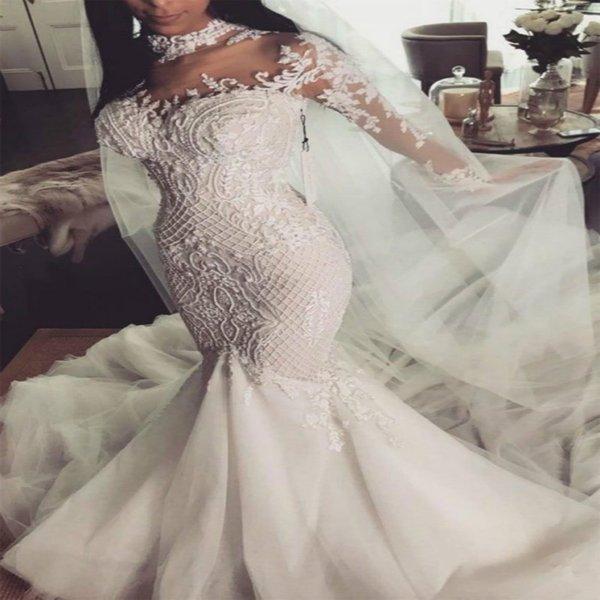 Luxury Arabic Mermaid Wedding Dresses Long Sleeve Summer Beach Wedding Dress 2019 Button Back Retro Lace Appliques High Neck Bridal Gowns