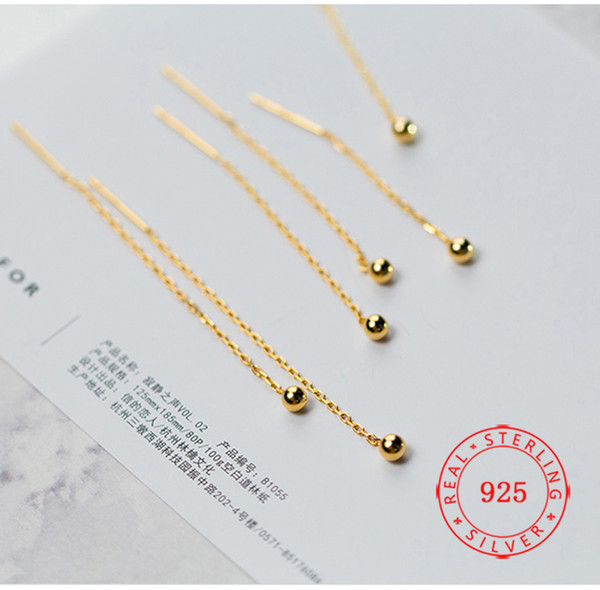 hot sale jewelry simple earring Minimalist Thread Earrings 925 Sterling Silver Long Chain Earring fashion jeweries wholesales in China
