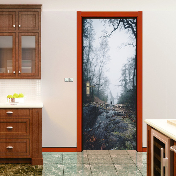 Forest Tree Door Wall Stickers Wallpaper For Kids Room Decoration Waterproof Removable Home Decals Soccer Funs Art Sport Game Pvc Poster