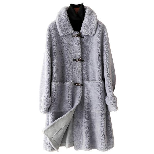 Echter Wolle-Pelz-Mantel-Jacken-Herbst-Winter-Frauen-Pelz-Mäntel Oberbekleidung LF9064