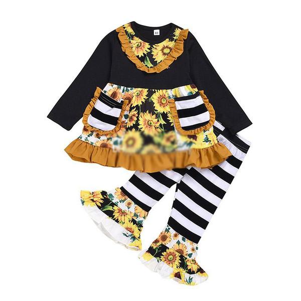 Los niños de la ropa del Belleza muchacha del girasol impresión con volantes de manga larga Dos bolsillos Top + rayas Pantalones acampanados Set Ropa de diseño para niños