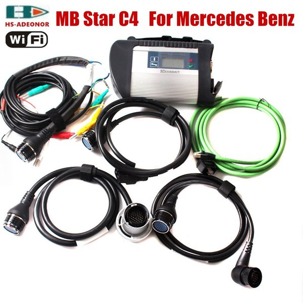 Special price MB Star C4! For the Benz 12V/24V car diagnostic tool MB Star C4 multiplexer with a full set of 5 cables